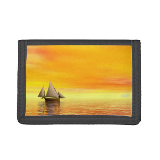 Small sailboat - 3D render Tri-fold Wallet