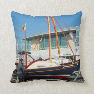 Small sailing boats, Southampton boat show Throw Cushions