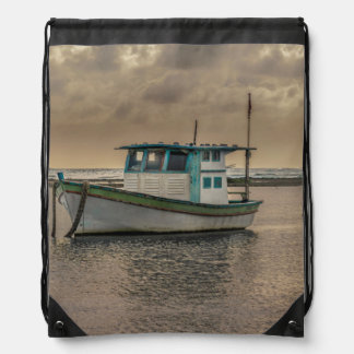 Small Ship at Ocean Porto Galinhas Brazil Drawstring Bag