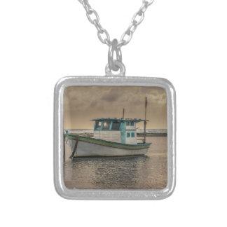 Small Ship at Ocean Porto Galinhas Brazil Silver Plated Necklace