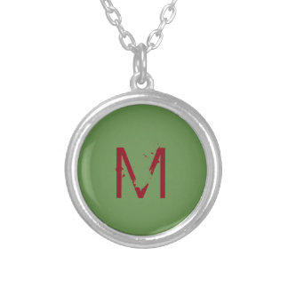"Small Silver Plated Round Necklace ""Letter M"""