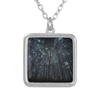 Small Silver Plated Square Necklace