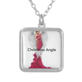 Small Silver Plated Square Necklace-Red Angle Silver Plated Necklace