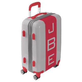 SMALL Silver + Red Monogrammed Carry On Luggage
