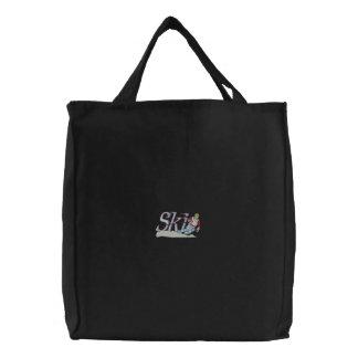 Small Ski Scene Embroidered Tote Bag