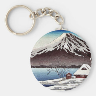 Small snow covered building on the coast keychain
