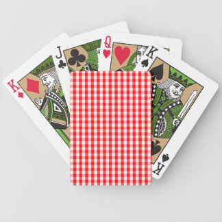 Small Snow White and Christmas Red Gingham Check Bicycle Playing Cards