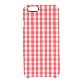 Small Snow White and Christmas Red Gingham Check Clear iPhone 6/6S Case