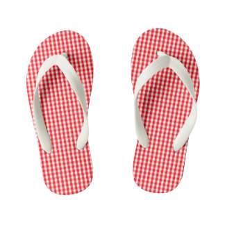 Small Snow White and Christmas Red Gingham Check Kid's Thongs