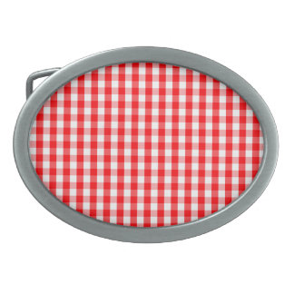 Small Snow White and Christmas Red Gingham Check Oval Belt Buckles