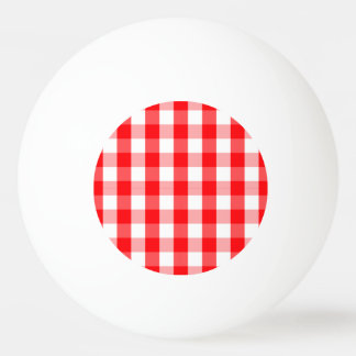 Small Snow White and Christmas Red Gingham Check Ping Pong Ball