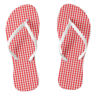 Small Snow White and Christmas Red Gingham Check Thongs