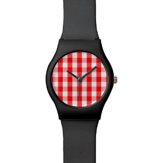 Small Snow White and Christmas Red Gingham Check Watch