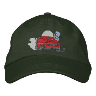Small Snowmobile Embroidered Baseball Cap