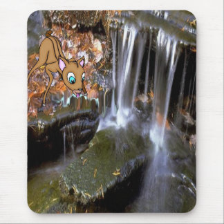 Small soft forest waterfall, w/deer mousepad