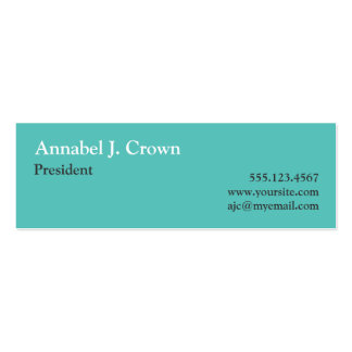 Small solid teal company logo traditional custom pack of skinny business cards