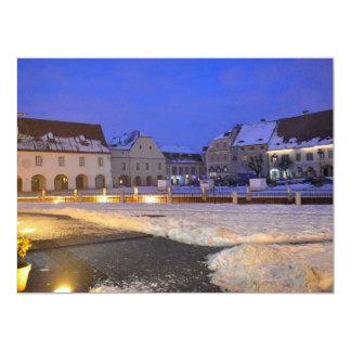 Small Square at night, Sibiu 17 Cm X 22 Cm Invitation Card