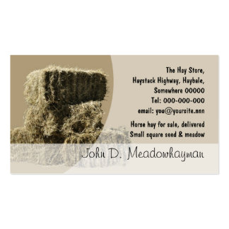 Small square hay bales stack pack of standard business cards