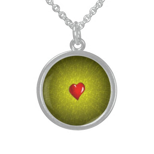 Small Sterling Silver Round Necklace red heart