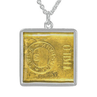 Small Sterling Silver Square Necklace gold
