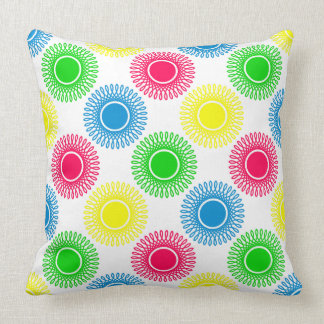 Small Summer Bright Bursts on White Cushion