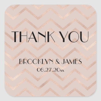 Small Thank You Rose Gold Chevron Wedding Stickers