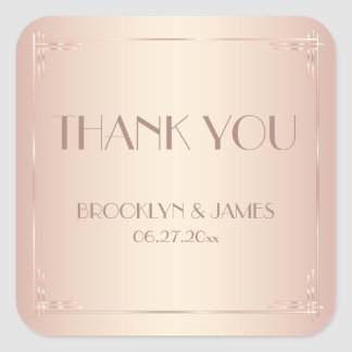 Small Thank You Vintage Blush Wedding Stickers