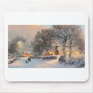 Small Town Americana; Brothers Walking In New Snow Mouse Pad