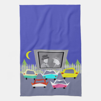 Small Town Drive-In Movie Kitchen Towel
