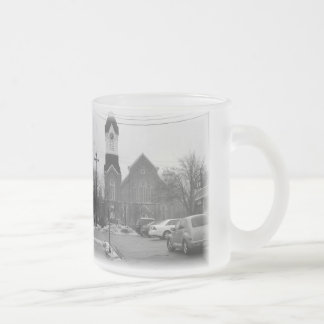 Small town living frosted glass coffee mug