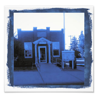 """Small Town Post Office"" in Cyanotype Photo"