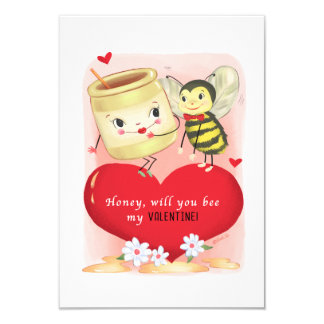 Small traditional Honey And Bee Vintage Valentine Card