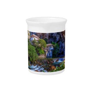 Small village Blagaj on Buna waterfall, Bosnia and Drink Pitcher
