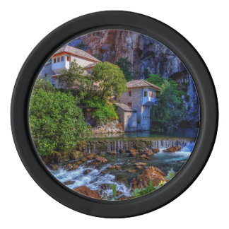 Small village Blagaj on Buna waterfall, Bosnia and Poker Chips