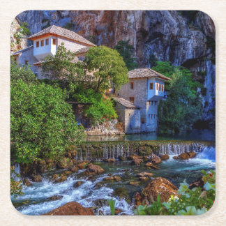 Small village Blagaj on Buna waterfall, Bosnia and Square Paper Coaster