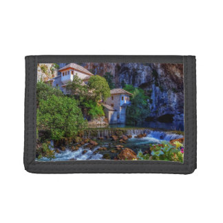 Small village Blagaj on Buna waterfall, Bosnia and Trifold Wallets