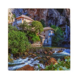 Small village Blagaj on Buna waterfall, Bosnia and Wood Coaster