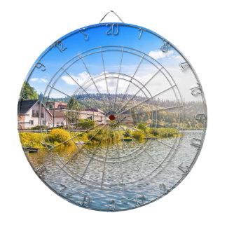 Small village near a lake dartboard