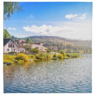 Small village near a lake napkin