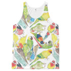 Small Watercolor Parrots All-Over Print Singlet