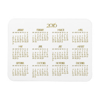 Small White And Gold Yearly Calendar 2016 Magnets