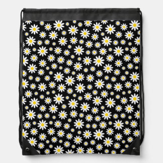 Small White Daisies on Black Drawstring Backpack