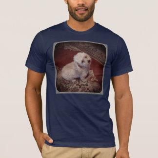 small white dog on oriental carpet T-Shirt