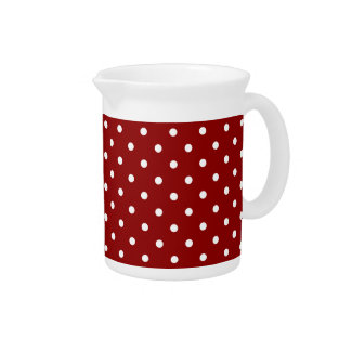 Small White Polka dots cherry red background Beverage Pitcher
