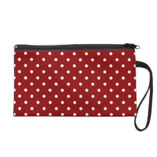 Small White Polka dots cherry red background Wristlets