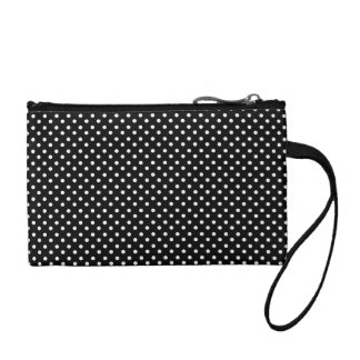 Small White Polka Dots on Black Pattern Coin Purse
