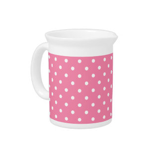 Small White Polka Dots on hot pink Pitcher