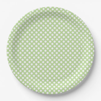 Small White Polka Dots on Mint Green 9 Inch Paper Plate