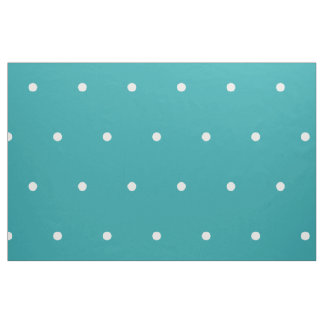 Small White Polka Dots on Pure Turquoise Fabric