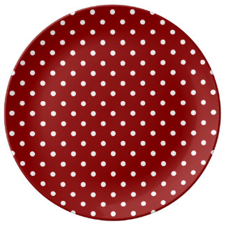 Small White Polka dots red background Porcelain Plate